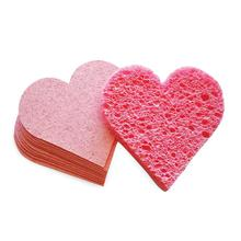 Hot Selling Facial Cleaning Cellulose Sponge Heart Shaped Compressed Cellulose Facial Sponge