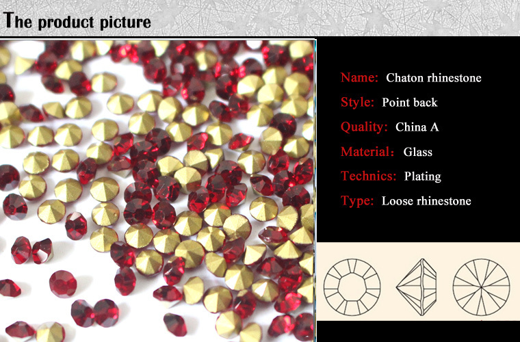 1016N Siam/red Factory chaton crystal,point back rhinestone,glass point back stone