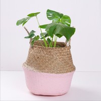 Customized wholesale belly straw basket woven seagrass natural rattan handmade storage basket with handles in Korean
