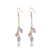 fashion gold plated natural purple crystal quartz stone amethyst drop earrings charms piercing for women jewelry
