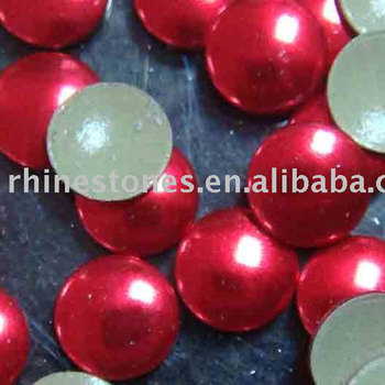 S0806 neon Color AB Aluminium flat back half-round pearl; iron on man-made pearls;hot fix pearl half round