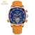 KINYUED automatic mechanical wrist watch tourbillon watch men genuine leather band luminous watch