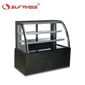 Newest design Curved glass showcase commercial display cake refrigerator showcase