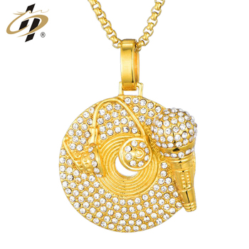 New design wholesale custom 3d gold Music Series Diamond Record Pendant dog tag with chain