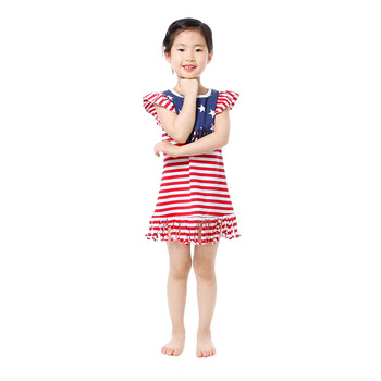 wholesales kids girls baby clothing striped and stars dress July the 4th tassel dress