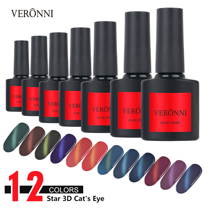 VERONNI 12 Color 3D Cat Eyes Nail Polish Gel Magnetic Aurora Series 10ml Varnish Magnet Nail Art Lacquer Black Base Needed Hot