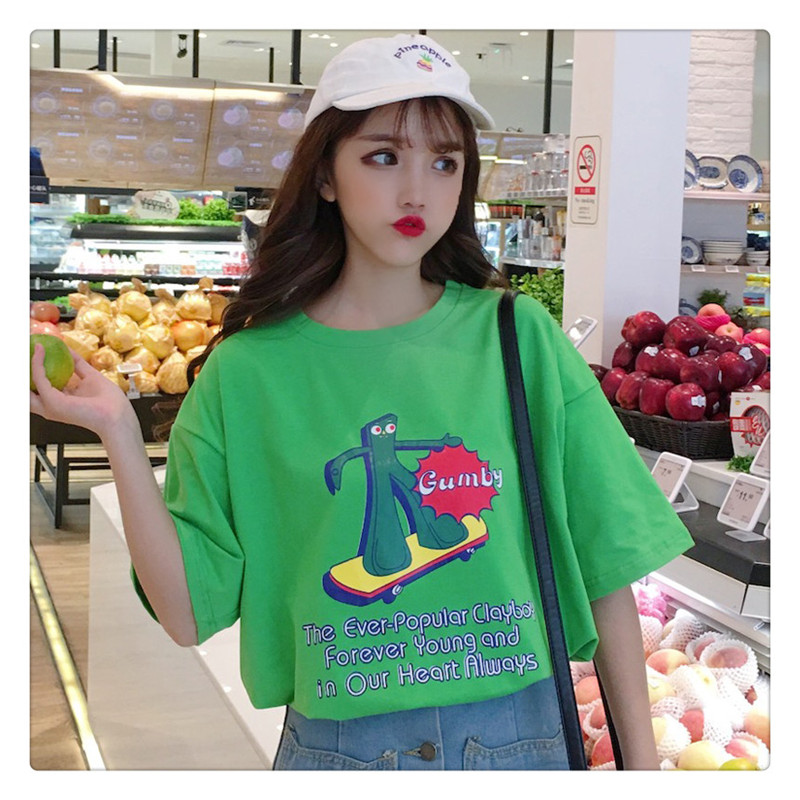 Lazy Wind Net Red Short Sleeve T-shirt Women's Wear Loose Korean Edition Chaotic Students Weird Mourning Department Baitie Top