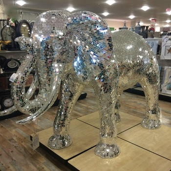 Custom made giant decoration life size light weight fiberglass resin elephant statue put mirror mosaic on top