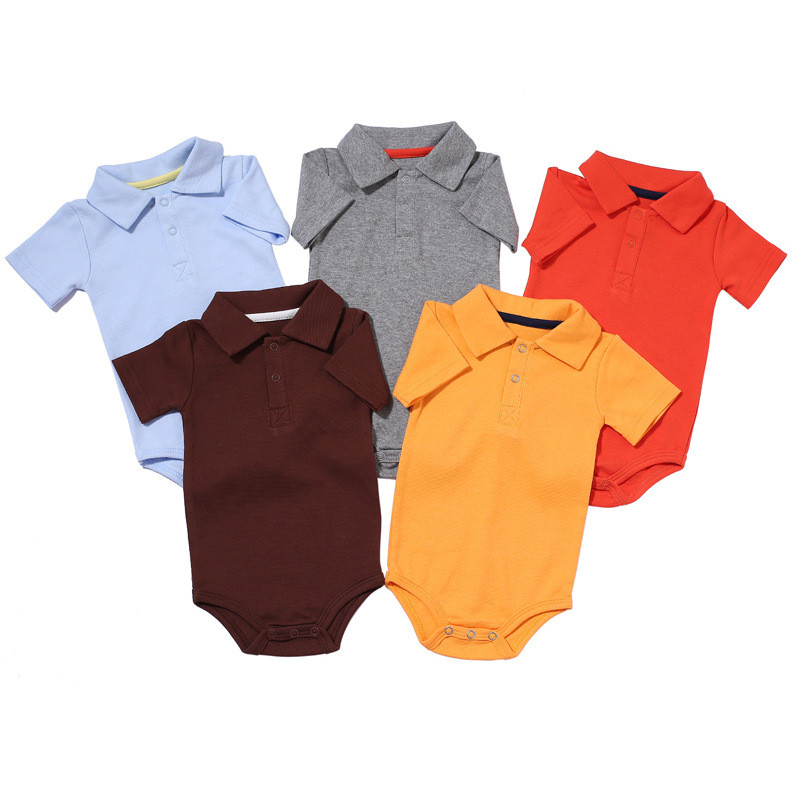 Custom Colored Blank Body Suit 100% Cotton Polo Collar <strong>Baby</strong> Romper for Newborn