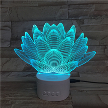 2019 Best Gifts Custom Optical LED Night Light 7 Color Wireless Speaker Cactus Pattern 3D Visual Illusion Lamp