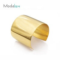 Modalen Wide Gold Plain Stainless Bracelet African Arm Bangle Steel Wrist Cuff