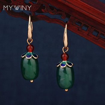 2 colors New fashion copper crown jewelrycolored hoop earrings green agate cylinder stones red stone earring
