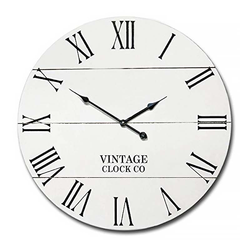 Rustic White Farmhouse Wall Clock 21-inch Vintage Wooden Antique Style Decor