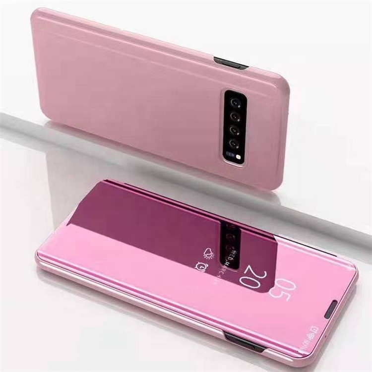 For Samsung Galaxy S10 Clear View Stand Flip Cover <strong>Case</strong>, Luxury Smart Mirror Electroplate Plating Protective Phone <strong>Case</strong>