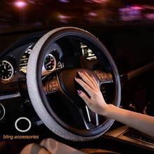 Steering Wheel Cover Bling Bling Rhinestones Crystals Car Handcraft Steering Wheel Covers Leather for Girls Black