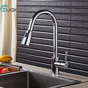 Luxury Pull Down spray Kitchen Faucet Wholesale New Arrival Solid Brass Swivel Pull Out Spray Gooseneck Sink Mixer Tap