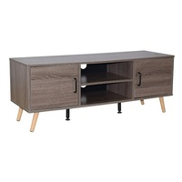 Cheap and Modern TV Stand with Storage Console Concise Style with Cabinets and Interior Shelves Open Shelf Brown home furniture