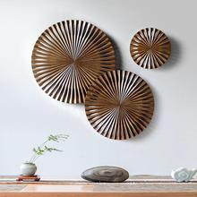 High Quality 3 pieces set Carved Wood Wall Decor Sunburst Decorative Wall Hanging Decor