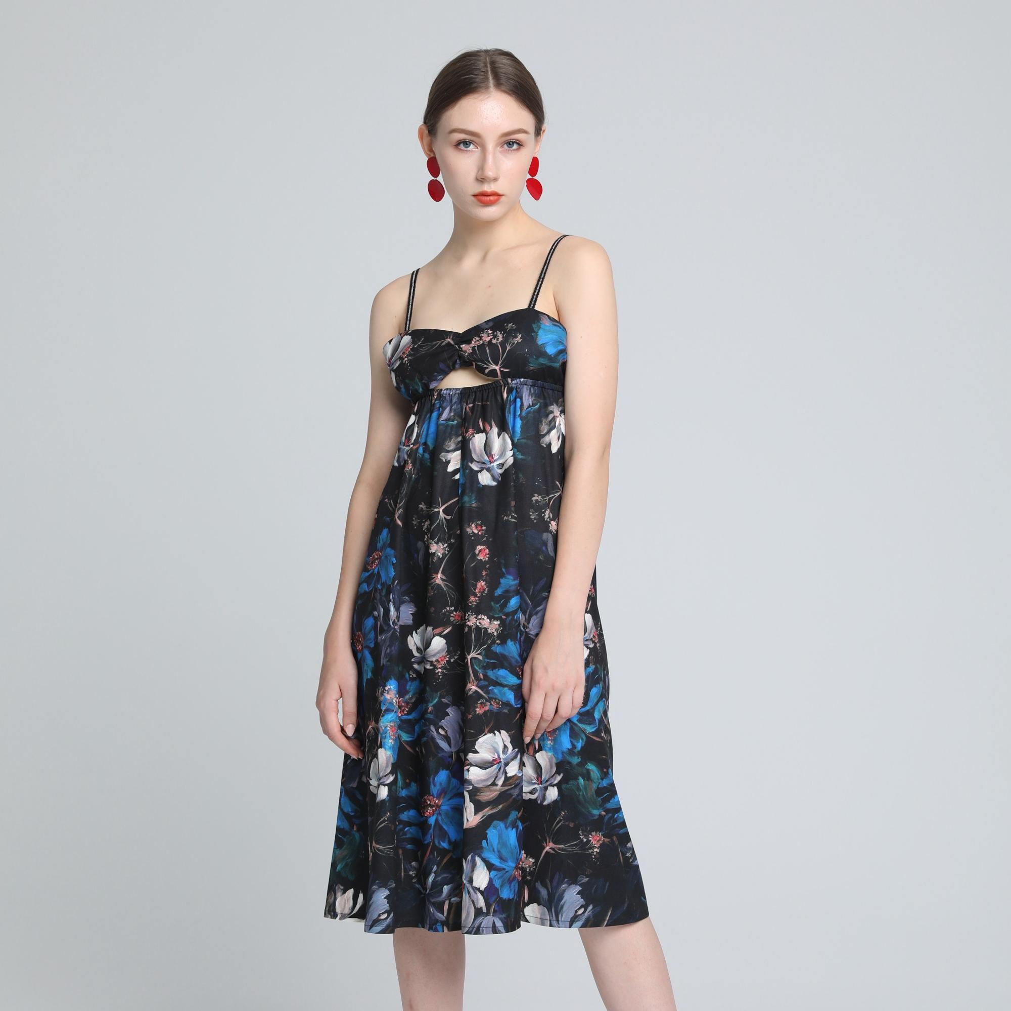 APHACATOP Hot Sale Black Slip Summer Floral Lady Dress