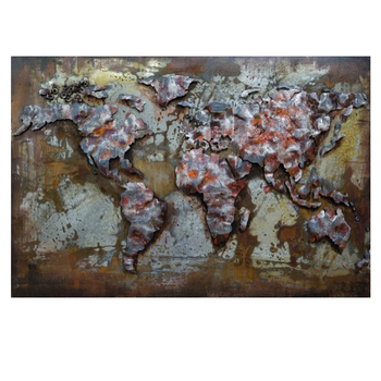 Unique Handmade Metal the world map wall art 3D Metal Painting