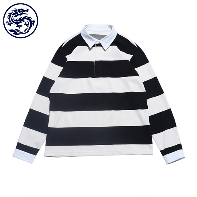 BSCI Custom Men'S Black/White Cotton Long Sleeve Striped Polo Shirt