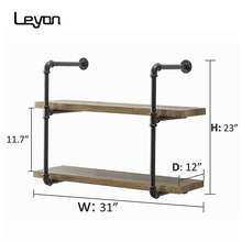 2-<strong>Shelf</strong> Rustic Pipe Shelving Unit /Vintage Industrial Pipe Wall <strong>Shelf</strong>