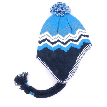 Kids funny knitted winter earflap hat with string