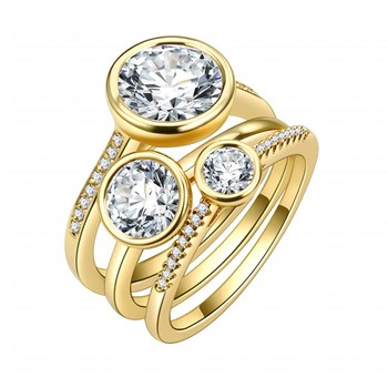 OB Jewelry-Eternity Cubic Zirconia  Finger Rings Set Dubai Gold Plated Fashion Jewelry Ring