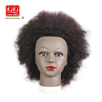 100% human hair Hair cutting straightening perming dyeing  training mannequin head afro