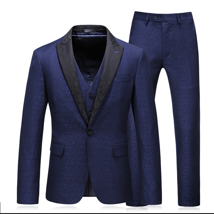 Men's casual suit three-piece sets of groom's formal attire business slim young fashion high-end suit