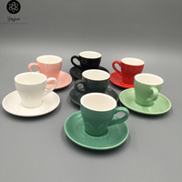 2019 New Design Ceramic Porcelain Gloss Colored 80ml Coffee Cups with Saucers