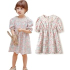 Baby Girls' Organic Cotton Dress Print Pretty Florals Tunic Baby Dress Kids with Lace Neck