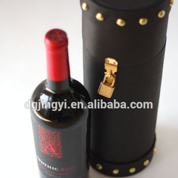 Handmade high end round tube wine gift box with lock