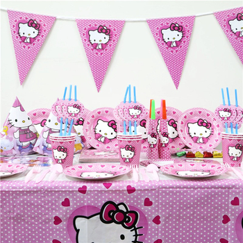 Theme Party Decoration Disposable Tableware Set Hello Kitty For Kids Birthday Party Supplies