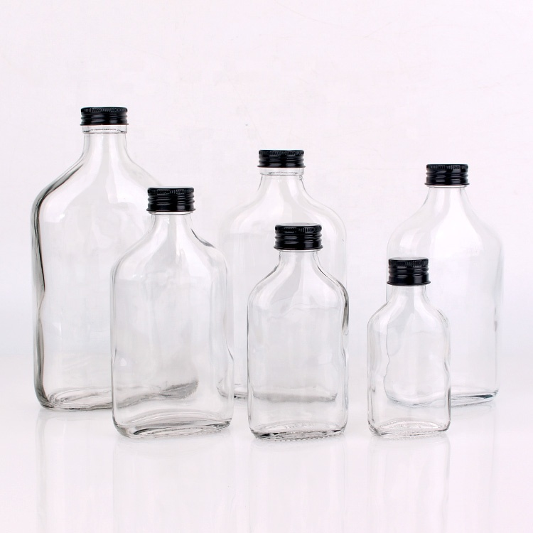 50ml 110ml 200ml clear flat wine glass <strong>bottles</strong> for brandy with screw top lids