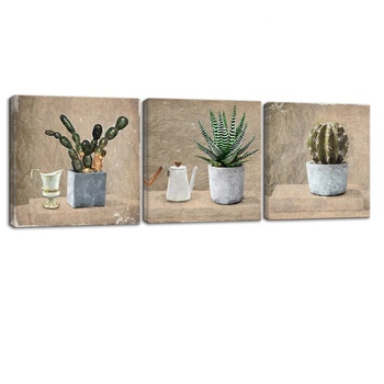 3 Panel Canvas Wall Art Green Cactus Painting Desert Fleshy Plant Art Prints Simple Life Succulent Artwork Aloe Picture Prints