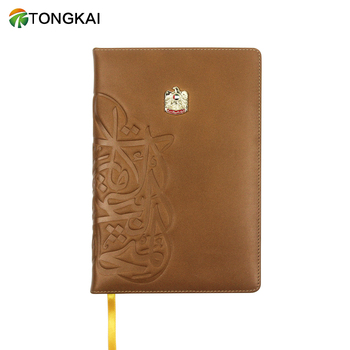 TongKai Business Personalized Genuine Leather Custom Notebook with Metal Logo