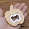 Customized apple shape rubber wood handle metal wine bottle opener