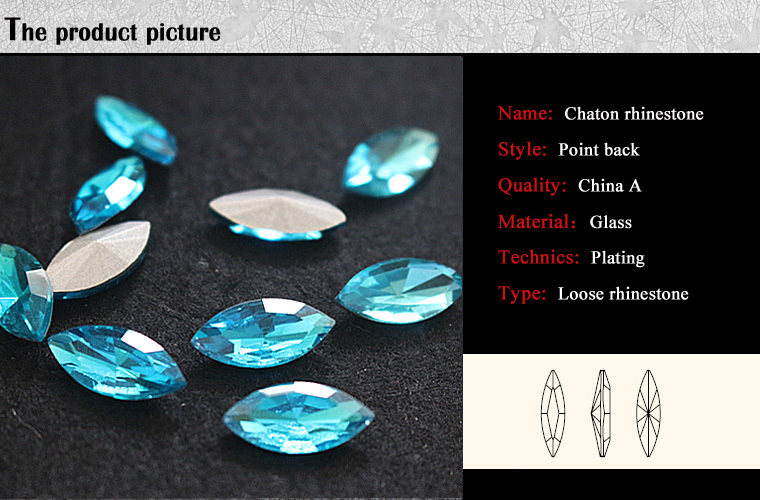 C0806 China A glass stones foil backed,cheap glass foil backed stones,wholesale foil backed aquamarine glass stones for garment