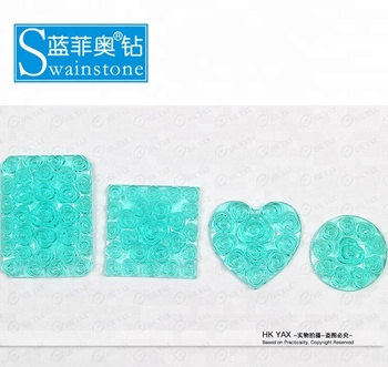 S0816 non hot fix rhinestone square resin stone,resin square rose flower stone for accessory,free sample for square resin stone
