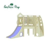 Wooden indoor playground for swing and slide set