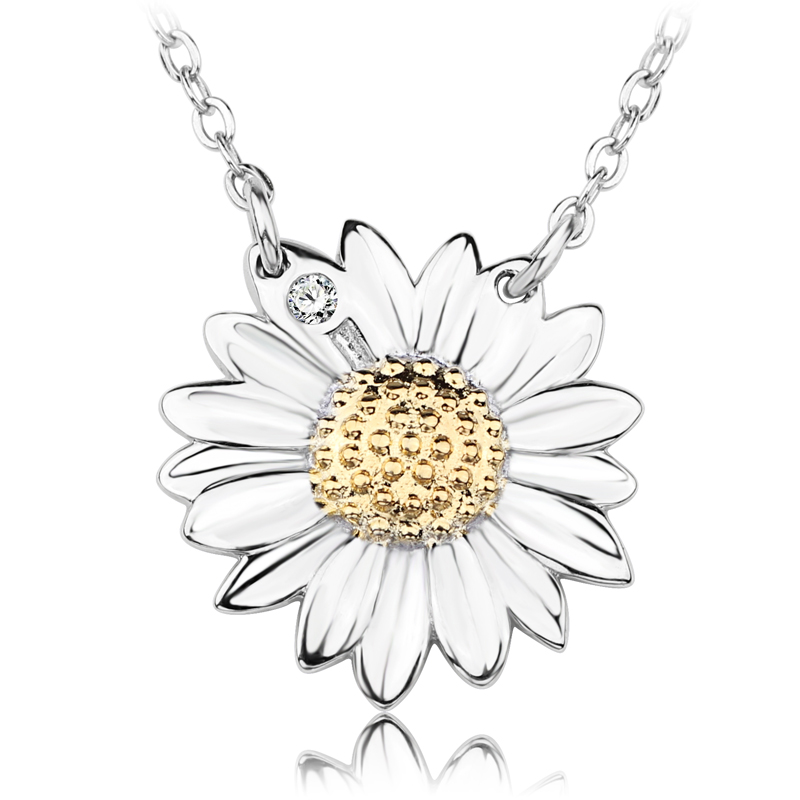 2019 <strong>Fashion</strong> 925 Sterling Silver Sunflower Daisy necklace jewellery for girls birthday gift