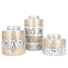 Luxury custom spice jar set gold silver flower pattern round spice storage jar ceramic spice <strong>containers</strong> with lid