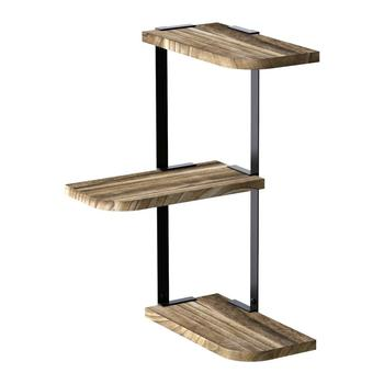 Rustic Wall-Mounted of 3 Tier Hanging Corner Wood Shelves