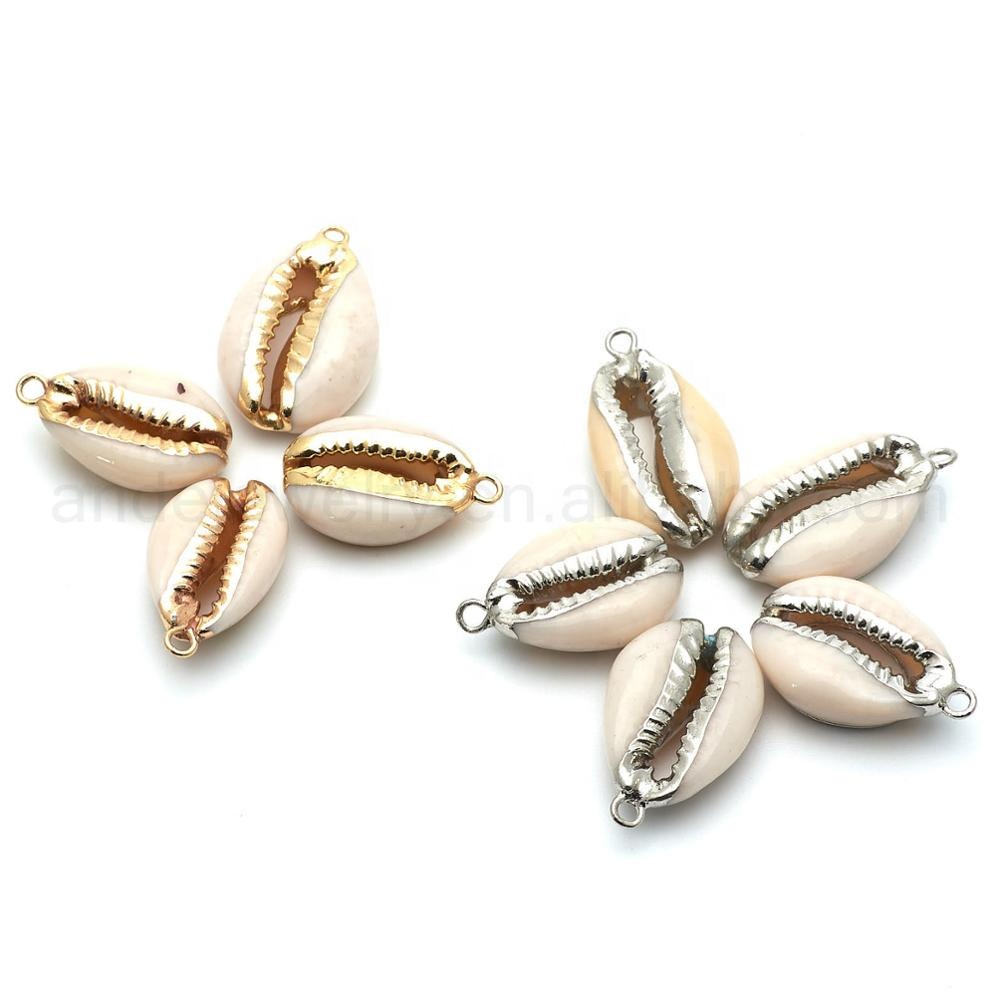 Wholesale Factory Price Real Natural Cowrie Shell Gold or Silver Plated Pendant <strong>Charm</strong>