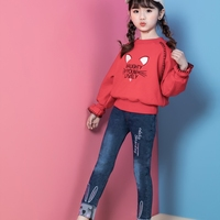 New design denim pants rabbit embroidered curling trousers girls kids jeans