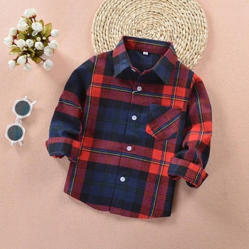 KIDS BOYS GIRLS PLAID FLANNEL CHECK SHIRTS BUTTON DOWN BLOUSE TOP 2-12Y