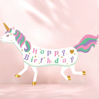 Glittering Unicorn Party Supplies Happy Birthday Bunting Banner Garland for Kids Party Decoration Baby Shower Wholesale