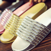 Popular new fashion trend craft slippers bright face flash drill casual female slippers