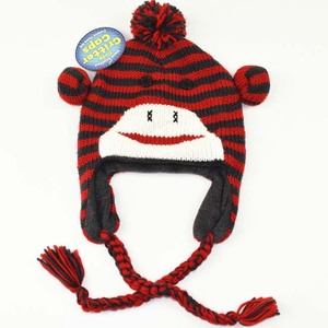wholesale warm animal beanie monkey knit hat for kid